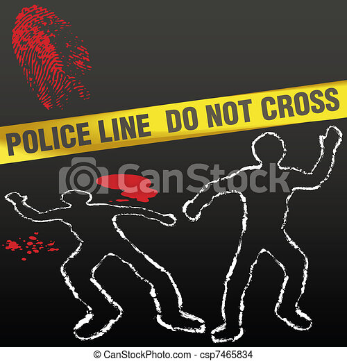 Crime scene tape corpse chalk outline - csp7465834
