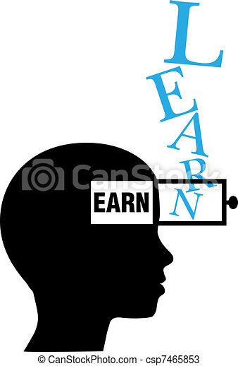 Person silhouette learn to earn education - csp7465853