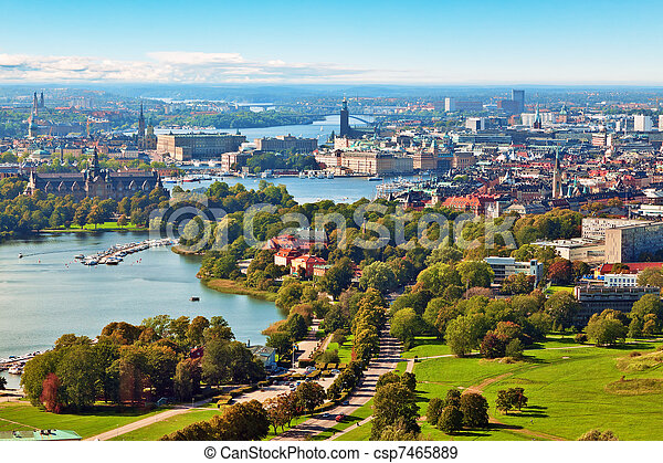 Aerial panorama of Stockholm, Sweden - csp7465889
