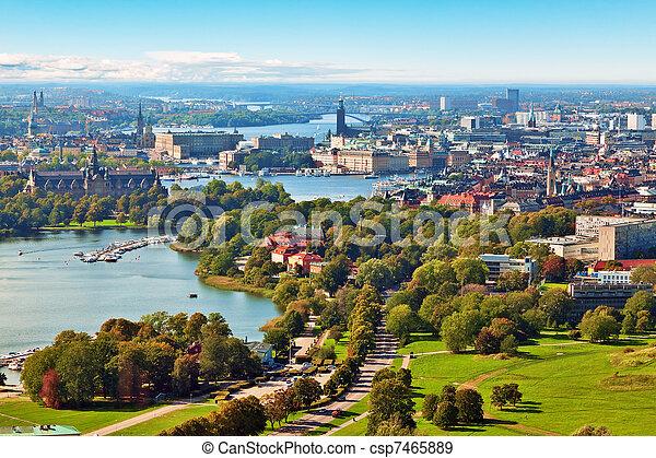 Aerial panorama of Stockholm, Sweden - csp7465889