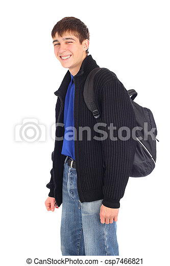 teenager with knapsack - csp7466821