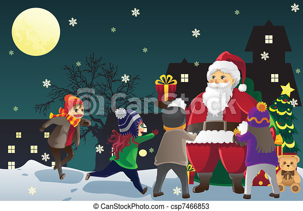 Santa Claus giving out Christmas presents to kids - csp7466853