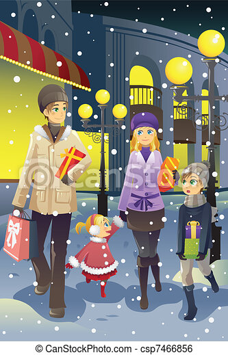 Shopping family in winter - csp7466856