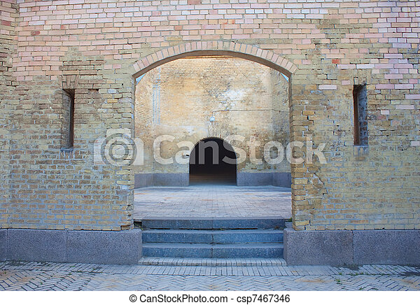 Castle gate and brick wall in Kiev (Kyiv), Ukraine. Kievo - Pecherskaya fortress. - csp7467346