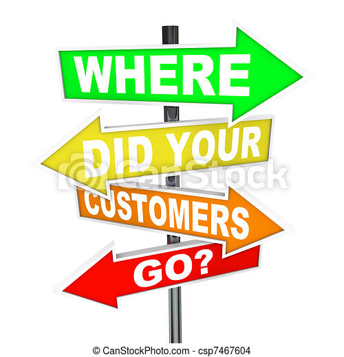 Where Did Your Customers Go Signs - Finding Lost Customer Base - csp7467604