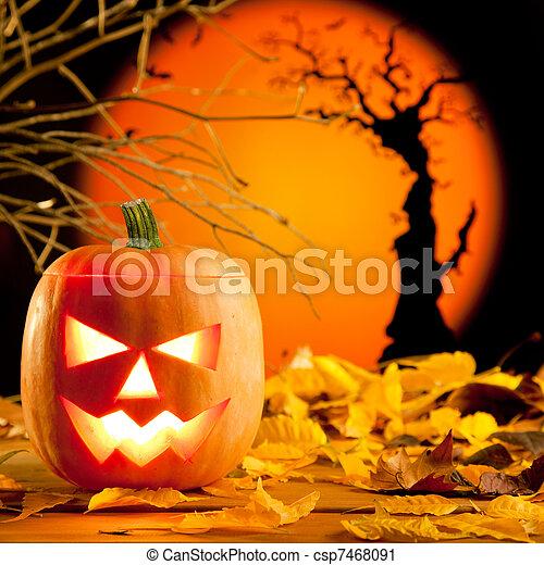 Halloween orange pumpkin on autumn leaves - csp7468091