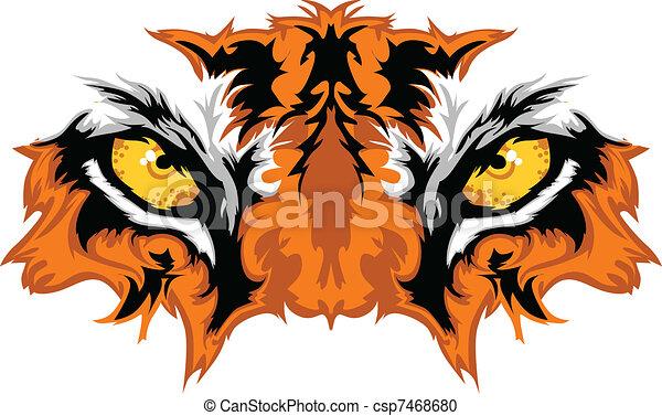 Tiger Eyes Mascot Graphic - csp7468680