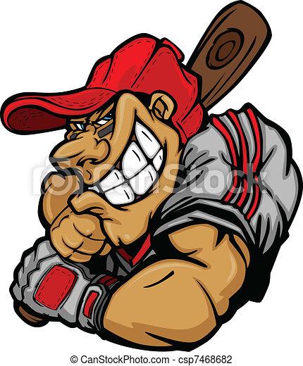 Cartoon Baseball Player Batting Vec - csp7468682