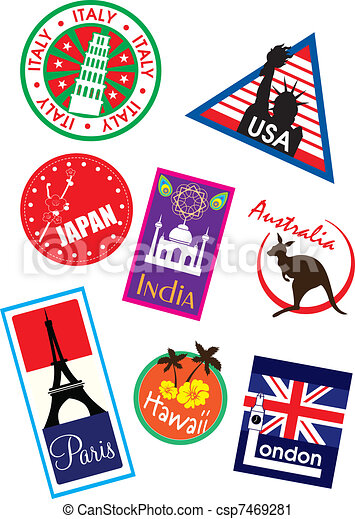 Country travel sticker - csp7469281