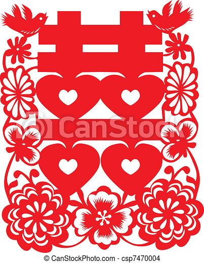Chinese wedding paper cut - csp7470004