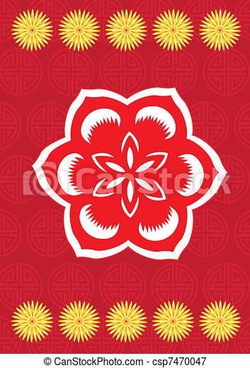 Chinese New Year Flower Pattern - Royalty Free EPS Clip ...