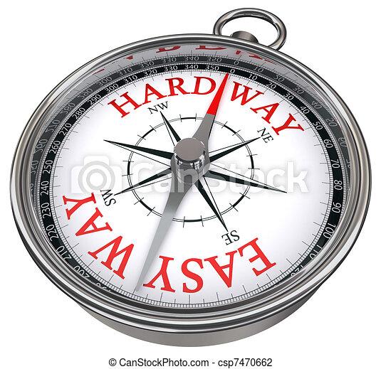 easy versus hard way dilemma  - csp7470662