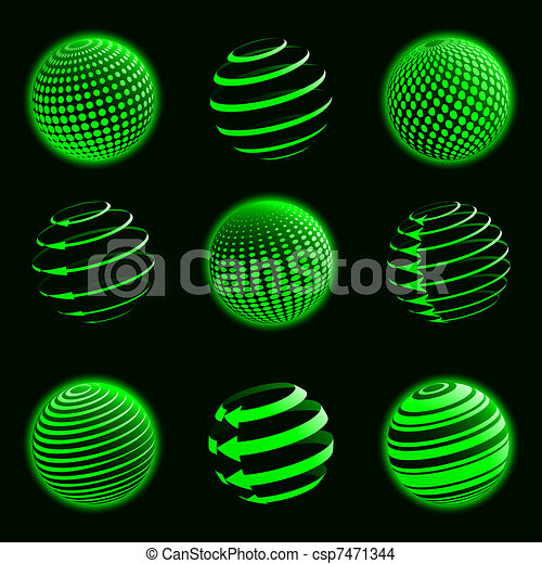 Green planet icons.  - csp7471344