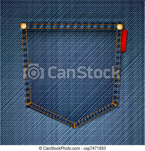 Pocket Of blue Jeans. Vector - csp7471933