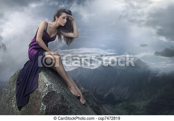 Perfect brunette beauty on a mountain - csp7472819