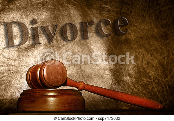 legal gavel and divorce text background - csp7473032