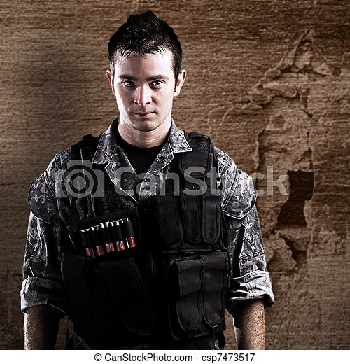 young armed soldier - csp7473517