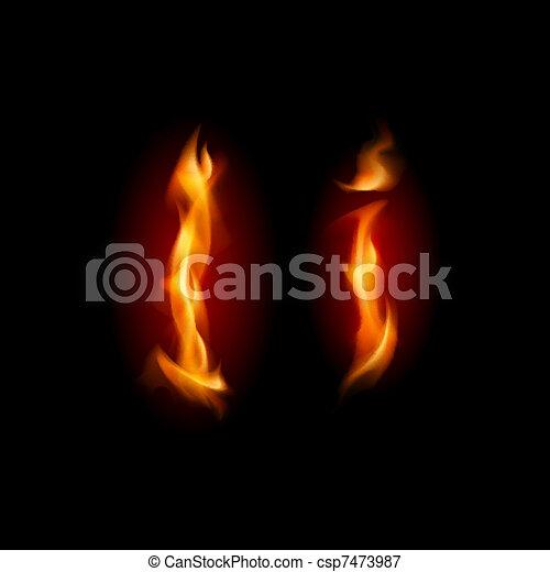 Fiery font. Letter I - csp7473987