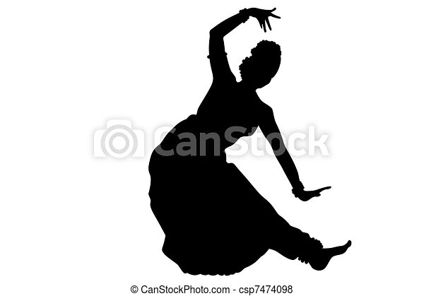 Stock Illustration of Indian dancing isolate - Black ...