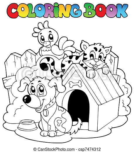 Coloring book with domestic animals - csp7474312