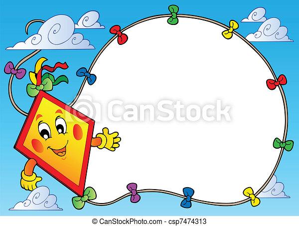 框架, 飞行, 卡通漫画, 风筝 - csp7474313