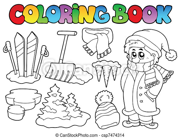 Coloring book winter topic 3 - csp7474314
