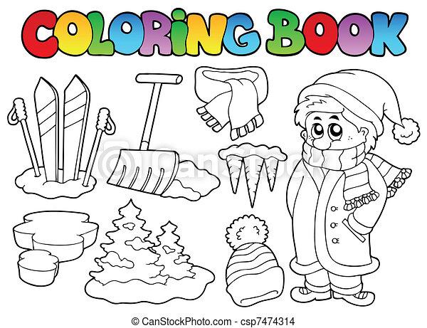 Coloring book winter topic 3 - csp7474314