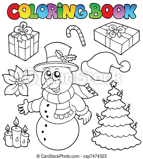 Coloring book Christmas topic 2 - csp7474323