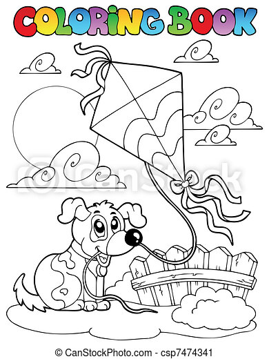 Coloring book with dog and kite - csp7474341
