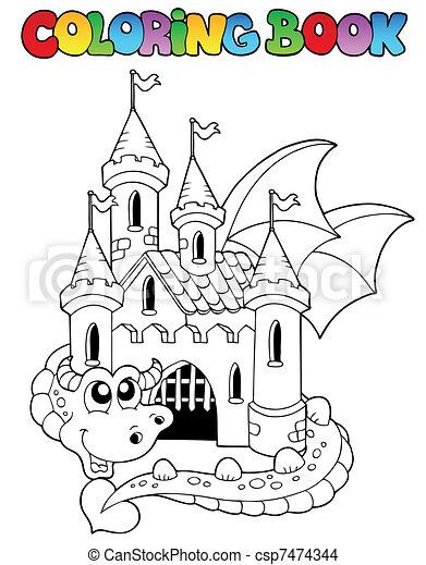Coloring book castle and big dragon - csp7474344
