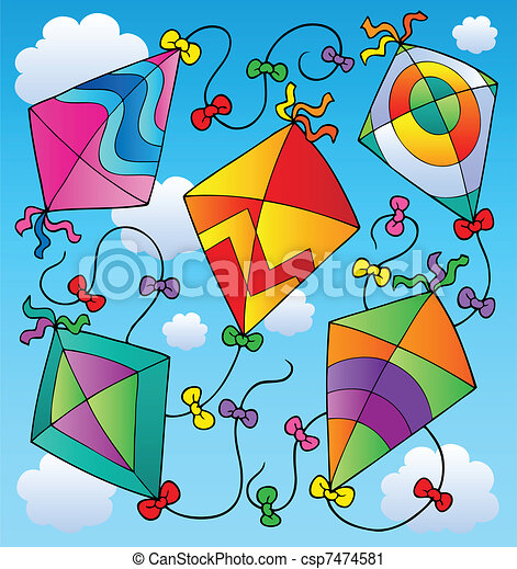 Various flying kites on blue sky - csp7474581