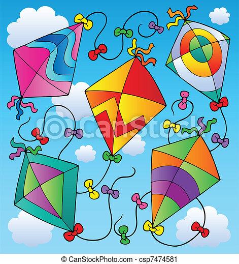 Various flying kites on blue sky - csp7474581