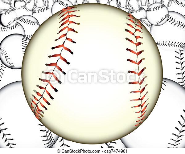 Vector Clip Art of a lot of baseballs - ball baseball baseballs ...