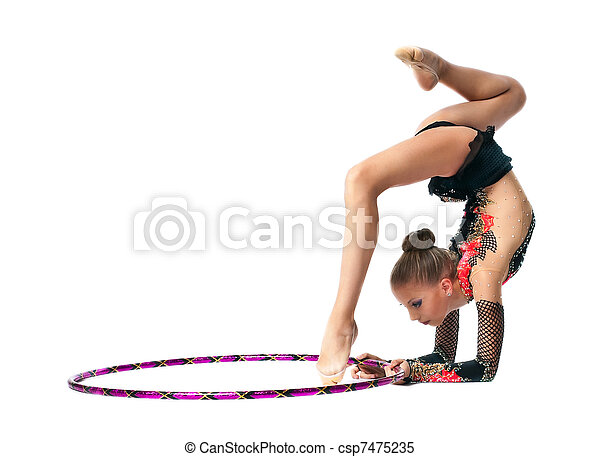 Young girl show gymnastics dance with hoop - csp7475235