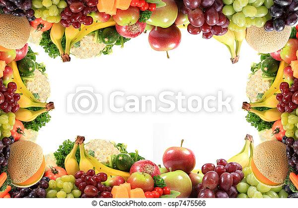 banco de imagens de saud vel frutas legumes borda ou quadro borda ou csp7475566. Black Bedroom Furniture Sets. Home Design Ideas