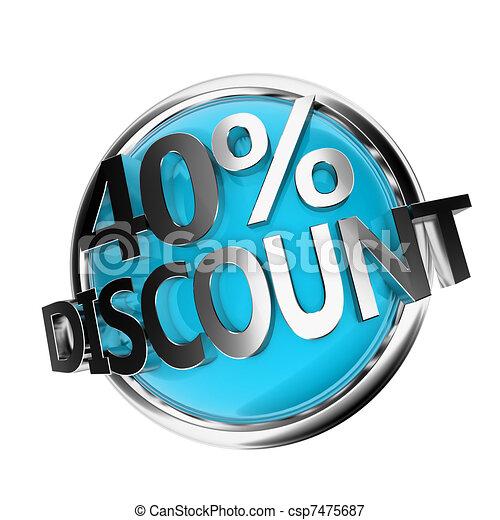 discount button - 40% - csp7475687