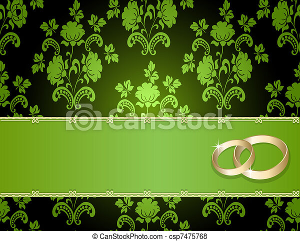 Wedding card with a floral pattern  - csp7475768