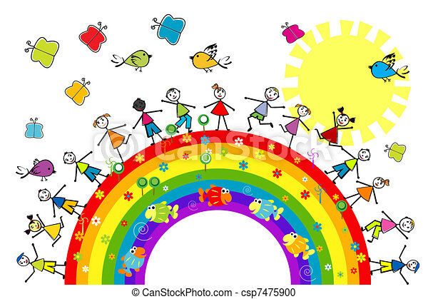 Doodle kids playing on a rainbow - csp7475900