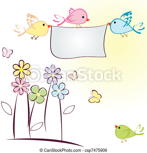 Greeting card with birds, flowers and butterflies - csp7475906