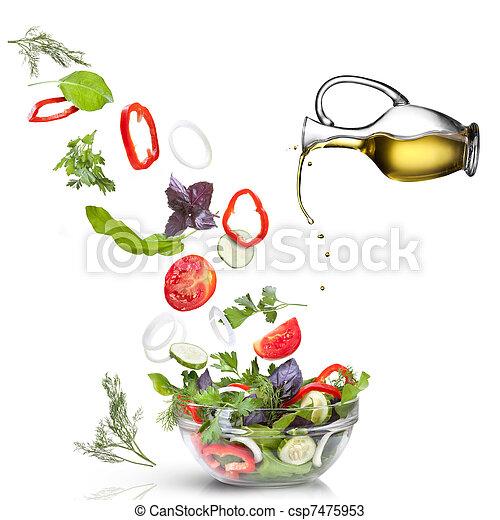 aceite, ensalada, vegetales, aislado, blanco, caer - csp7475953