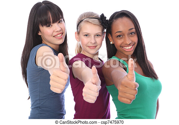 Success for ethnic mix three student girl friends - csp7475970