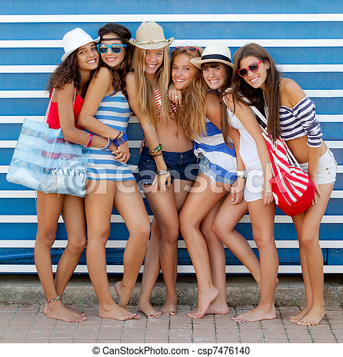 diverse group of girls going to beach on summer vacation - csp7476140