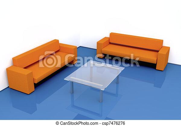 Stock de ilustracion de sala de estar minimalistic 3d for Sala de estar dibujo
