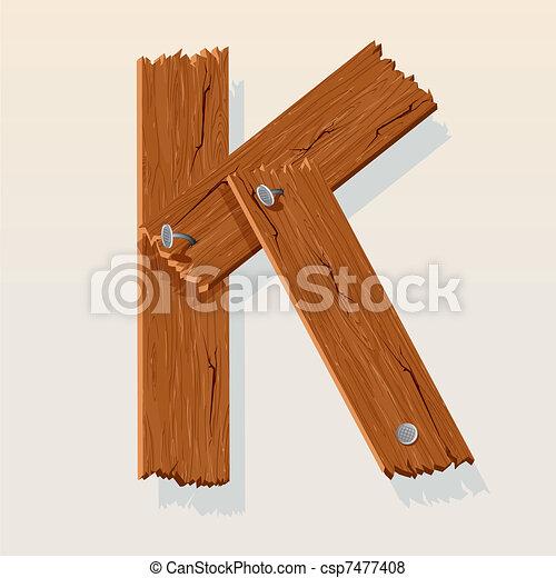 Letter K From vector Wooden Alphabet - csp7477408