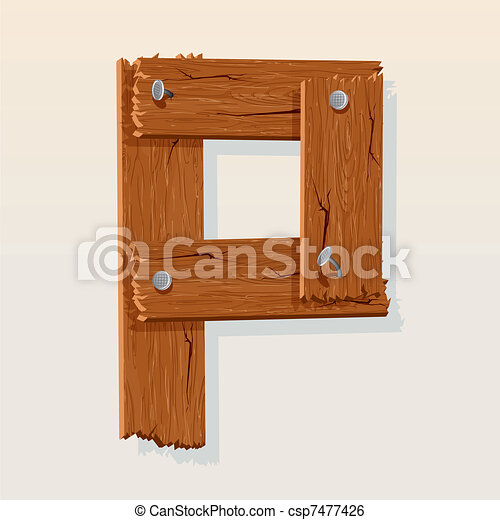 Letter P From vector Wooden Alphabet - csp7477426