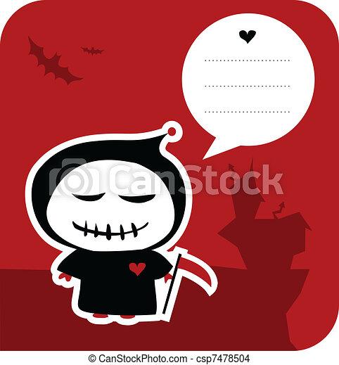Funny grim reaper halloween greeting card - csp7478504