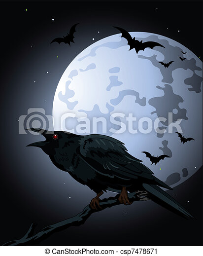 Crow  against a full moon - csp7478671