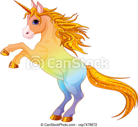 Rainbow colored unicorn - csp7478672