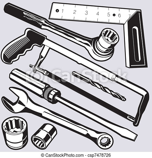 Hand Tools And Sockets Vector Clipart Instant Download