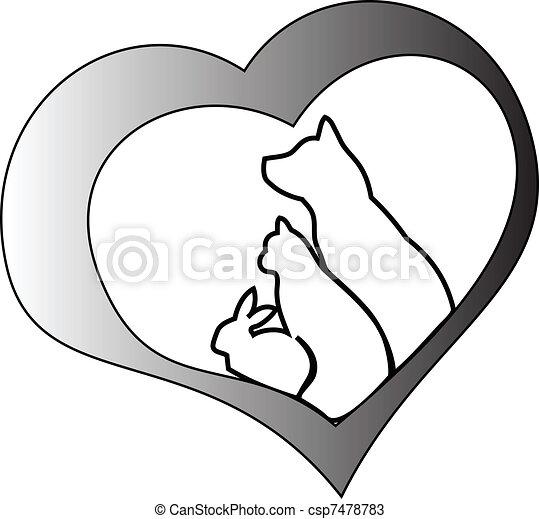 Animais estimação, e, Coração - csp7478783